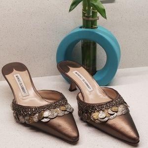 MANOLO BLAHNIK beaded heeled sandals (size 7)